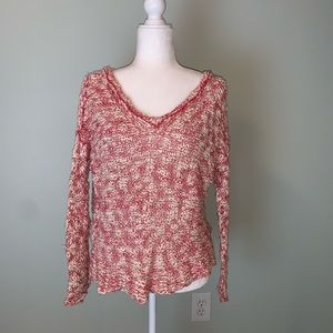 Free People Red and cream flecked sweater #3241